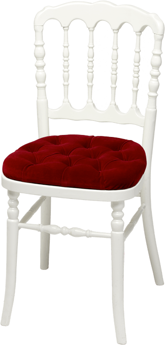 Chaise Napoleon III Blanche Assise Rouge